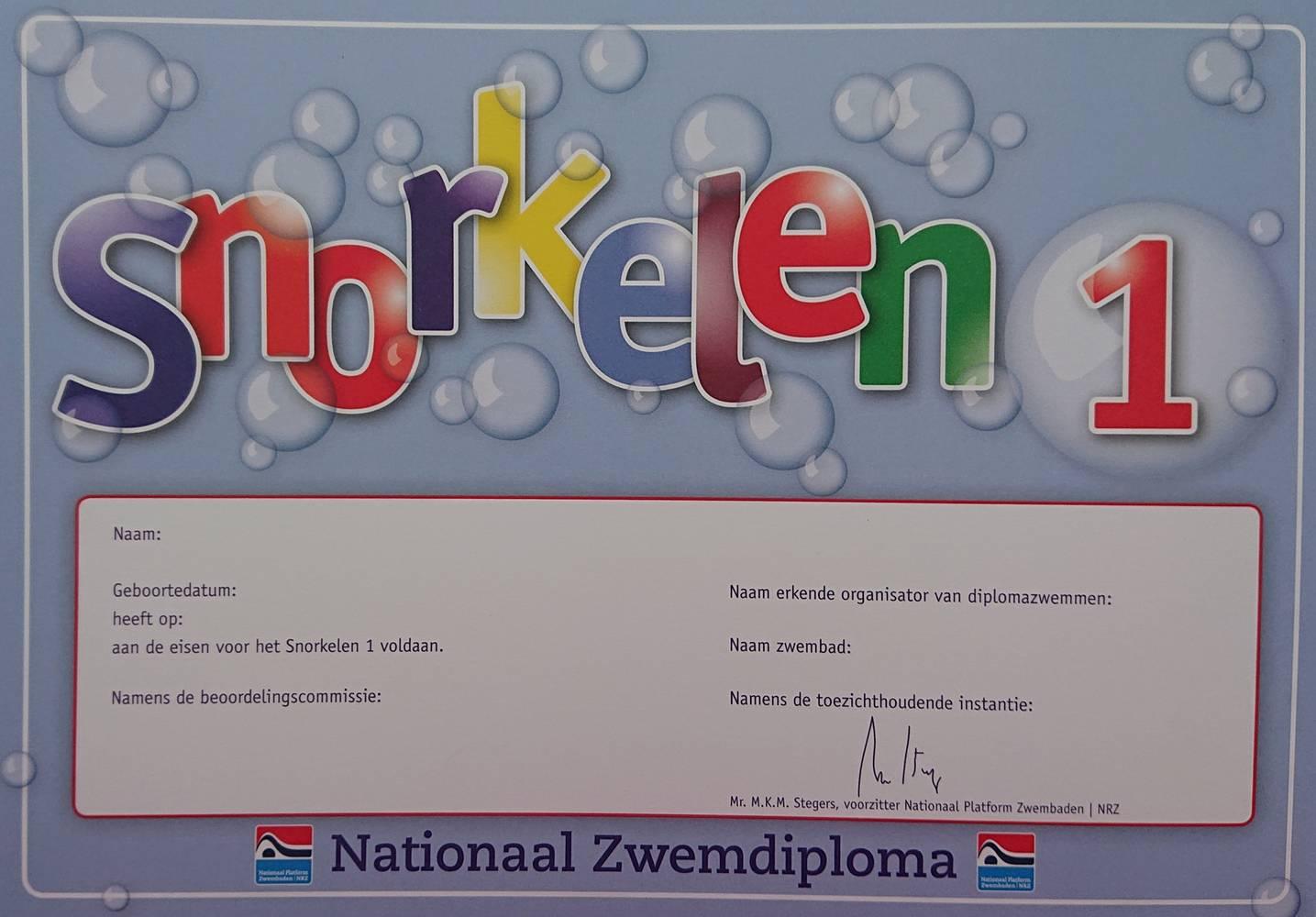 Snorkelen diploma 1